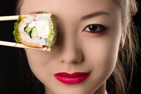 korean girl: beautiful Korean girl with roll instead eyes