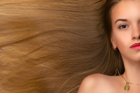 luxurious: beautiful face blond girl with luxurious hair Stock Photo