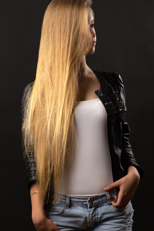 luxurious: luxurious blond teenager girl with long hair