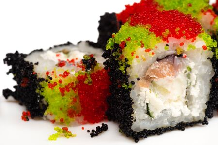 japanese cookery: beautiful delicious rolls closeup Stock Photo