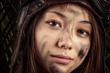 portrait beautiful Korean girl with dirty face closeup Stock Photo