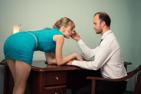 beautiful woman in blue dress seduction boss