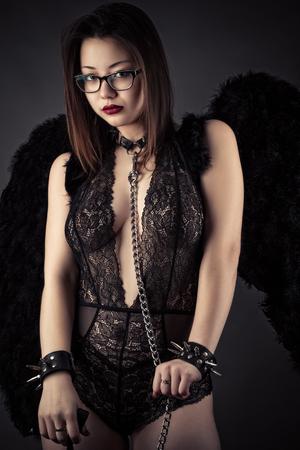 beautiful Korean girl with devil wings