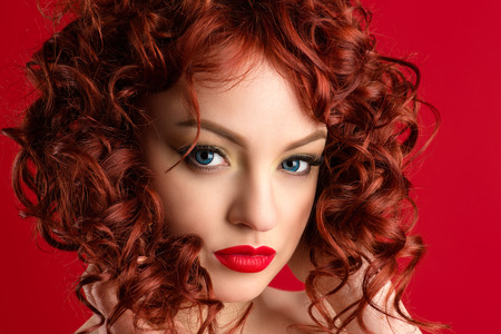 portrait sensual charming woman with red hair