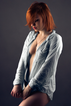 sensual gorgeous nude woman in shirt