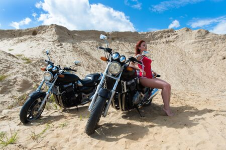 luxury sexy woman with two motorcycles Zdjęcie Seryjne