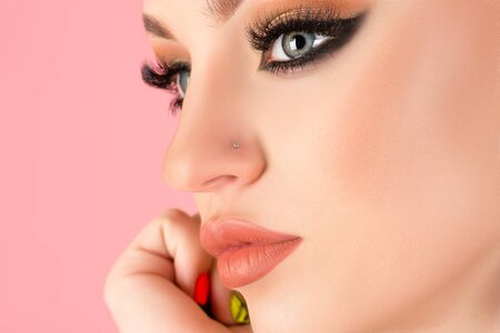 luxury face makeup young woman close-up Zdjęcie Seryjne
