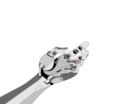 Robotic hand shows something on white background  photo