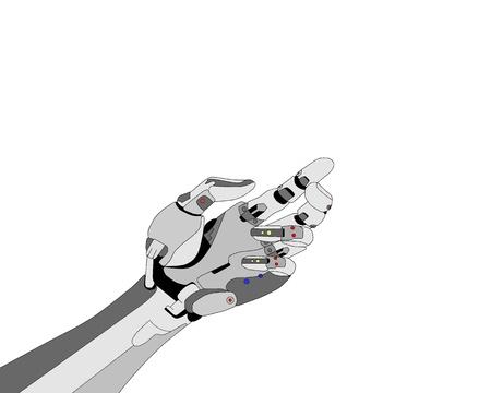 Robotic hand shows something on white background  photo