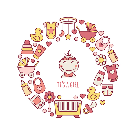 Its a girl greeting card design. Vector baby line art icons set in circle shape. Nursery and kids care, isolated colorful symbols.