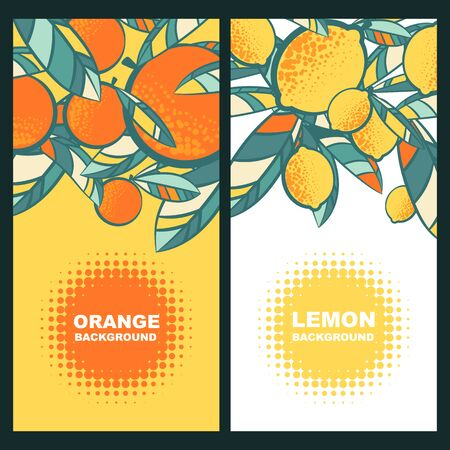 Vector label background with lemons, oranges and leaves. Summer tropical vertical banner with place for text. Vectores