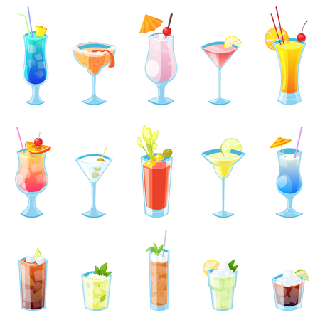 Tropical alcohol cocktails vector illustration. Set of isolated beverages and drinks icons. Ilustração