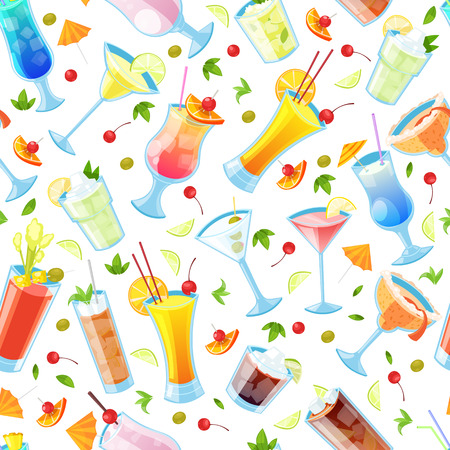 Seamless vector pattern with tropical alcohol cocktails.