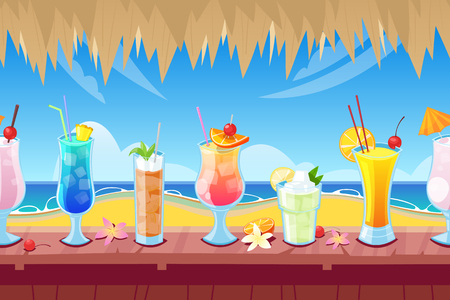 Seamless horizontal background with wooden bar counter and alcohol cocktails and beverages on desk.