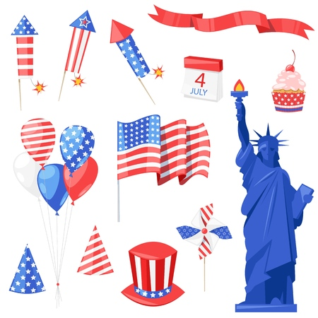 Usa National Symbols Vector Isolated Design Elements For Usa