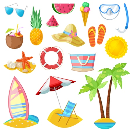 Summer vector icons and design elements isolated on white background. Vettoriali