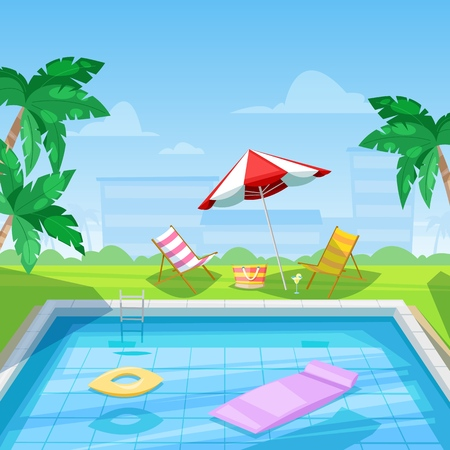 Hotel swimming pool with chaise lounge and parasol umbrella. Vector illustration. Ilustrace