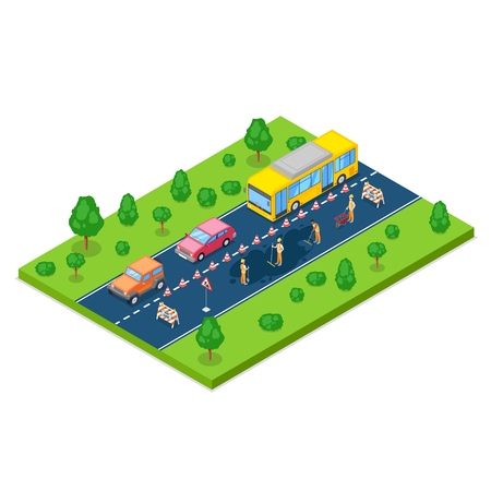 Road repair, roadworks and construction concept. Vector 3D isometric illustration.