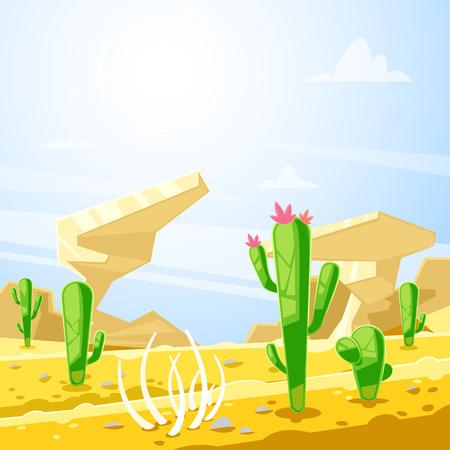 Desert landscape, vector illustration. Cactuses, rocks and sand dunes cartoon background. Summer travel and adventures concept.