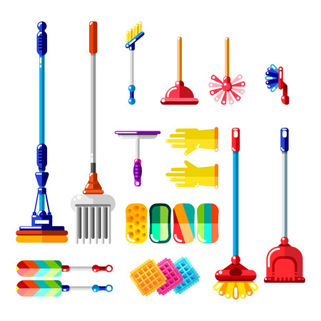 Household cleaning tools and supplies.