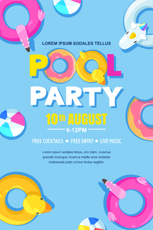 Summer pool party, vector poster, banner layout. Standard-Bild - 100333799
