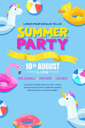 Fiesta en la piscina de verano, cartel de vector, diseño de banner. Ilustración de vector