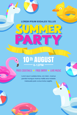 Summer pool party, vector poster, banner layout.