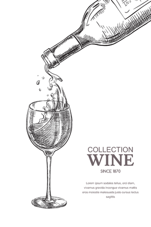 Wine pouring from bottle into glass, sketch vector illustration. Hand drawn label design elements.