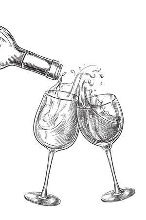 Due bicchieri di bevande. Vino che versa dalla bottiglia in vetro, illustrazione di vettore di schizzo. Elementi di design etichetta disegnata a mano. Vettoriali