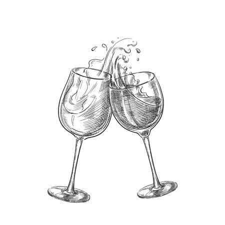 Two wine glasses with splash drinks, sketch vector illustration. Hand drawn label design elements.