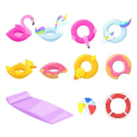 Flotadores inflables para niños lindos de la piscina, elementos de diseño aislados vectoriales. Ilustración de vector