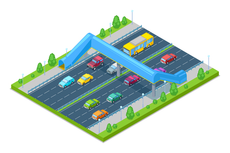 Safety overpass, transport, modern road construction and junction concept.