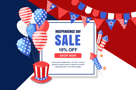 USA Independence Day sale vector banner template. 4 of July celebration concept. Holiday multicolor background with square frame, flags, air balloons decoration.