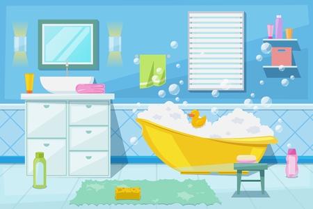 Douche de bébé et intérieur de salle de bain, illustration de dessin animé de vecteur. Meubles de salle de bain, articles d'hygiène et autres éléments de conception de baignoire pour nouveau-né.