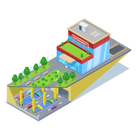 Underground car parking in shopping mall. Vector isometric 3D illustration. Urban building construction and city transport traffic concept.