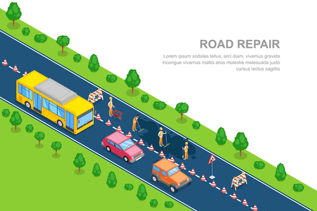 Road repair, roadworks and construction concept. Vector 3D isometric horizontal banner. City road closed for reconstruction. Workers in the uniform asphalt the road. Illustration