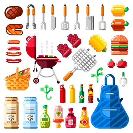 BBQ and grill icons and isolated design elements set. Vector barbecue food, equipment and tools illustration.
