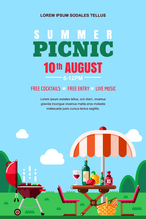 Summer barbecue picnic, vector poster, banner layout. BBQ grill, umbrella, table with food and wine on meadow. Outdoors weekend and holiday background.