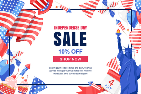 USA Independence Day. Vector sale banner, poster template. Holiday frame with white background. Statue of Liberty, flag, air balloons and other 4 of July celebration symbols.