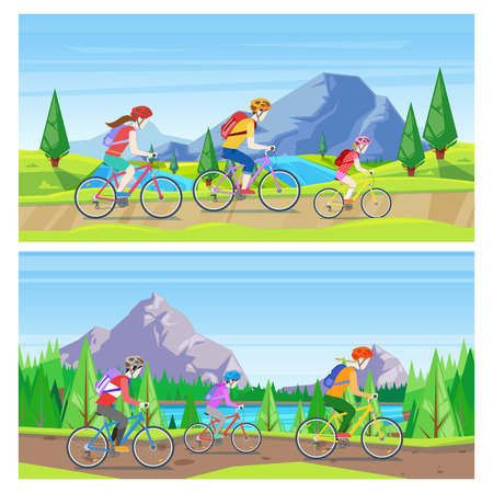 Family vacation, cycling and outdoors sports activity. Vector horizontal banner set. Mom, dad and daughter riding bicycles on mountain road.