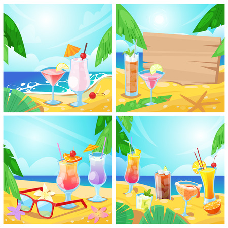 Vector tropical cocktails and beach bar concept. Set of summer illustration and backgrounds. Alcohol beverages and wooden board with place for text on sand.