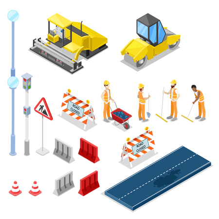 Construcción y reparación de carreteras, vector iconos aislados isométricos 3D.