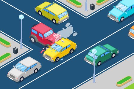 Car crash, vector isometric 3D illustration. Street accident at intersection of the main and secondary roads. Safety street traffic and road insurance concept. 写真素材 - 101046443