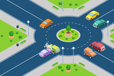Car crash, vector isometric 3D illustration. Street accident at roundabout junction road. Safety street traffic and insurance concept. Vettoriali