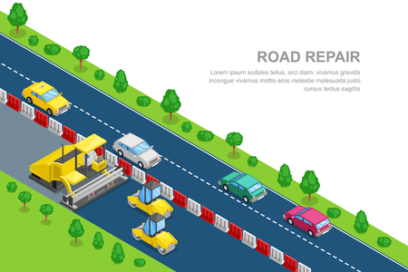 Road repair and construction horizontal banner template. Vector 3D isometric illustration. Roller and asphalt paving machine on the roadworks.