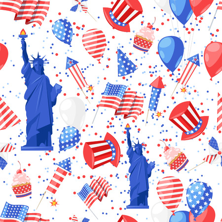 USA seamless pattern. Vector print background. American national symbols, celebration Independence Day.