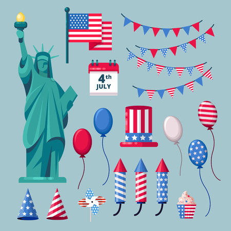 USA holiday icons and design elements for 4 of July Independence Day celebration. Vector illustration. Stock Illustratie