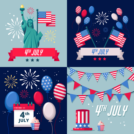 Set of USA holiday vector backgrounds, icons and stickers. 4 of July USA Independence Day greeting card or banner template. Stock Illustratie