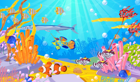 Underwater marine life, vector cartoon illustration. Ocean or sea bottom with colorful fishes, coral reefs and seaweeds. Diving or aquarium background.