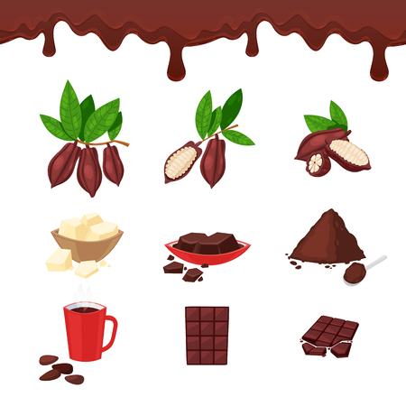 Cocoa and chocolate, vector cartoon design elements and icons set. Cacao beans, sweet bar, powder and cup illustration. Standard-Bild - 102675355